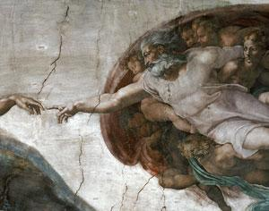 Michelangelo's painting The Creation of the First Man is in the Sistine Chapel in Vatican City. Human beings have a natural inclination for religious belief, especially during hard times (Image: Alinari/Rex)